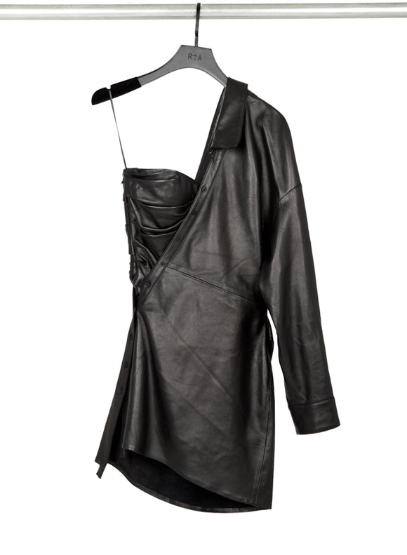 RtA lana asymmetric leather shirt dress
