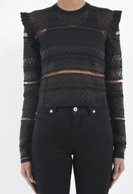 McQ womens geo lace crew neck