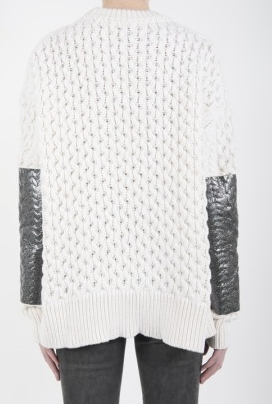 McQ womens foil print cable knit