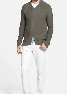 Vince Mens Khaki zip sweater