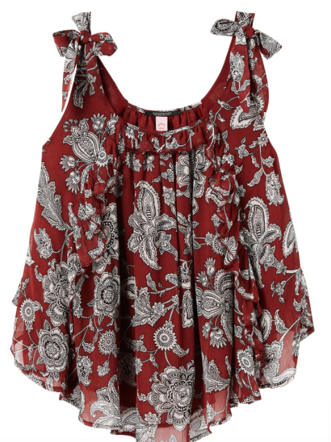 Scotch & Soda womens printed ruffle tank