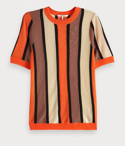 Scotch & Soda mercerised striped short sleeve knit