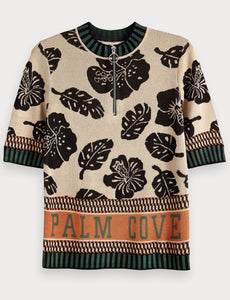 Scotch & soda palm printed knitted top