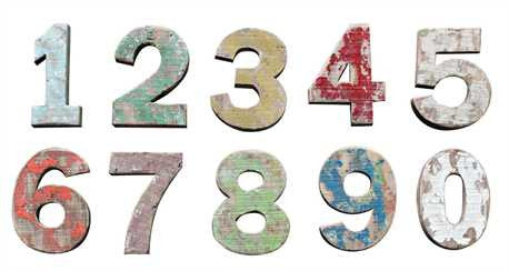 Wood Number w/ Distressed Finish