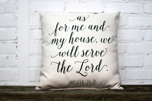 As For Me And My House Pillow With Black Piping