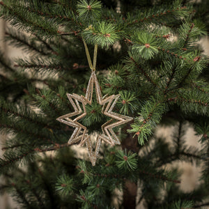 9 Point Open Star Ornament Champagne Glitter