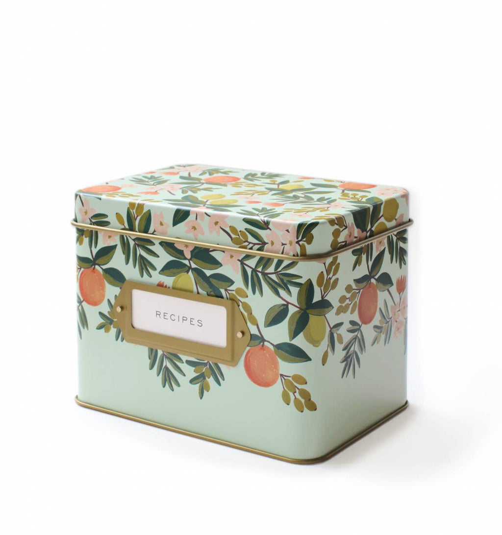 Citrus Floral Tin Recipe Box - Fox & Fig