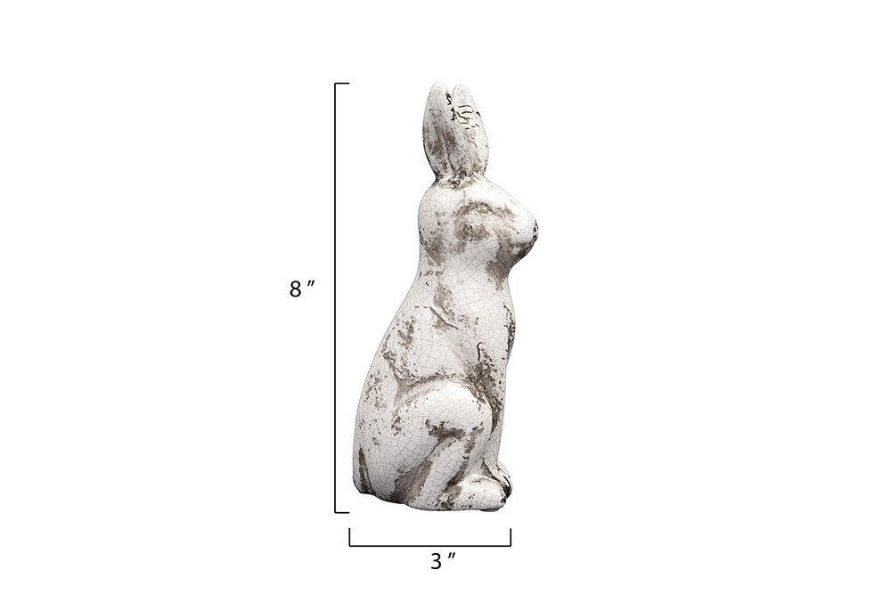 Ceramic Rabbit, Distressed Cream - Fox & Fig