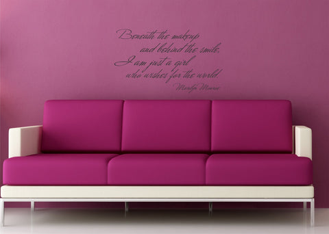 Beneath the Makeup... Marilyn Monroe quote wall decal - Arise Decals