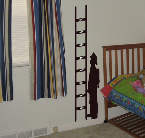 Fireman Growth Chart wall decal - Arise Decals