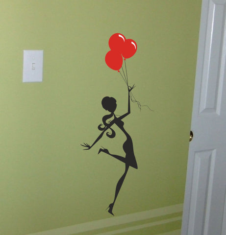 Girl with Balloons wall decal - Arise Decals