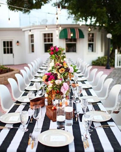 Striped Linens Black and White - Bella Angel Event Decor
