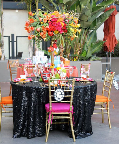 Black Sequin Linens - Bella Angel Event Decor