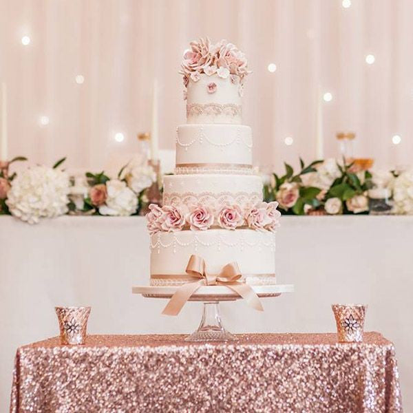 Blush Sequin Linens - Bella Angel Event Decor