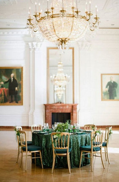 Emerald Green Sequin Linens - Bella Angel Event Decor