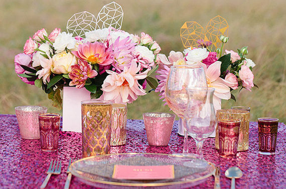 Fuchsia Sequin Linens - Bella Angel Event Decor