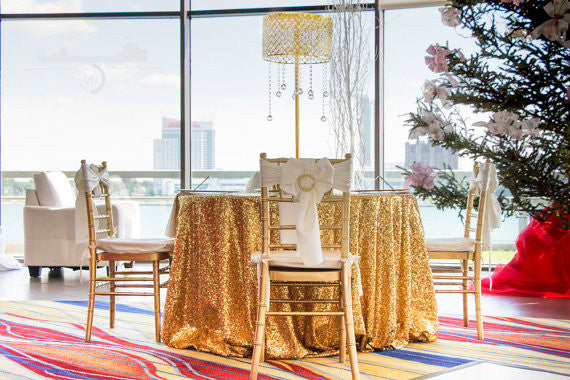 Gold Sequin Linens - Bella Angel Event Decor