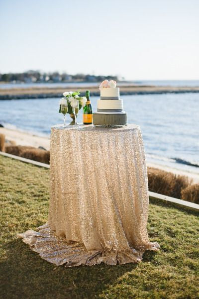 Ivory Sequin Linens - Bella Angel Event Decor