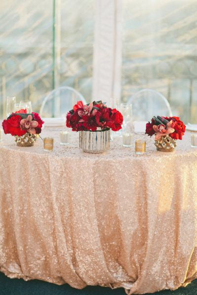 Peach Sequin Linens - Bella Angel Event Decor