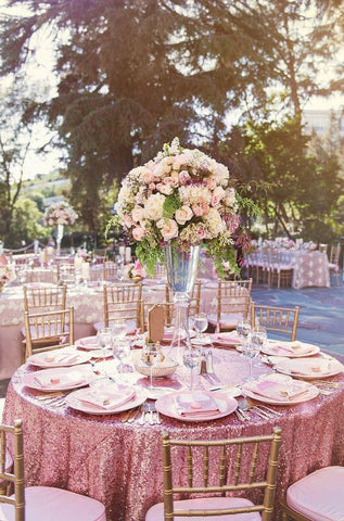 Pink Sequin Linens - Bella Angel Event Decor