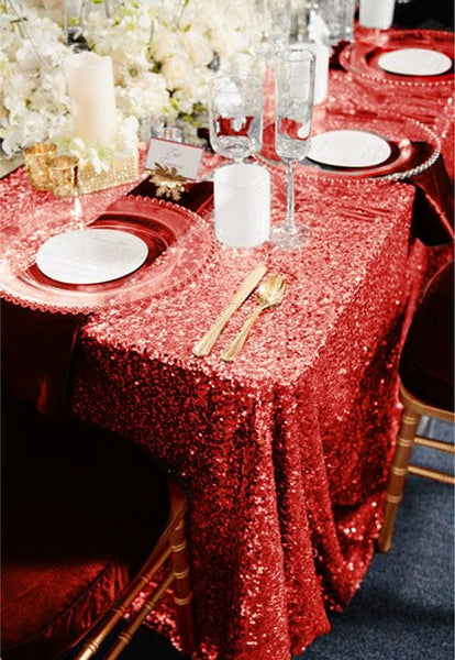 Red Sequin Linens - Bella Angel Event Decor