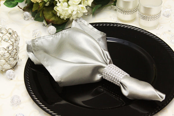 Rhinestone Velcro Napkin Ring / Sash Clip - Silver - Bella Angel Event Decor
