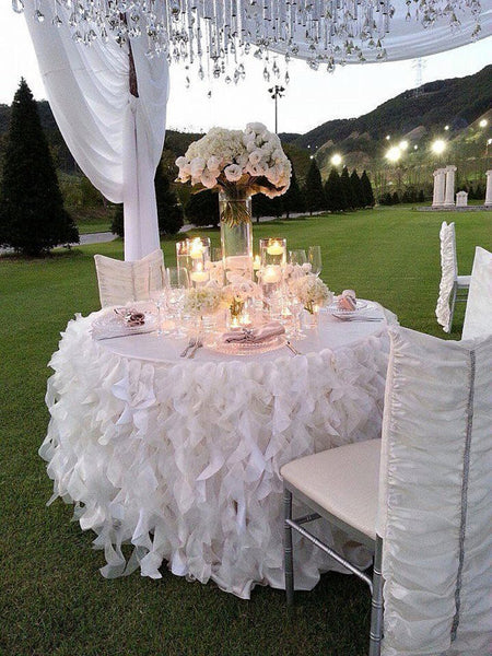 Romantic Ruffles Table Skirt - Bella Angel Event Decor