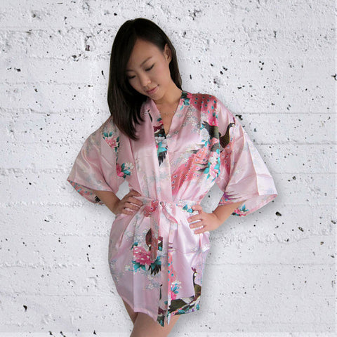 SHORT Floral Peacock Kimono Robes - Bella Angel Event Decor