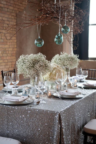 Silver Sequin Linens - Bella Angel Event Decor