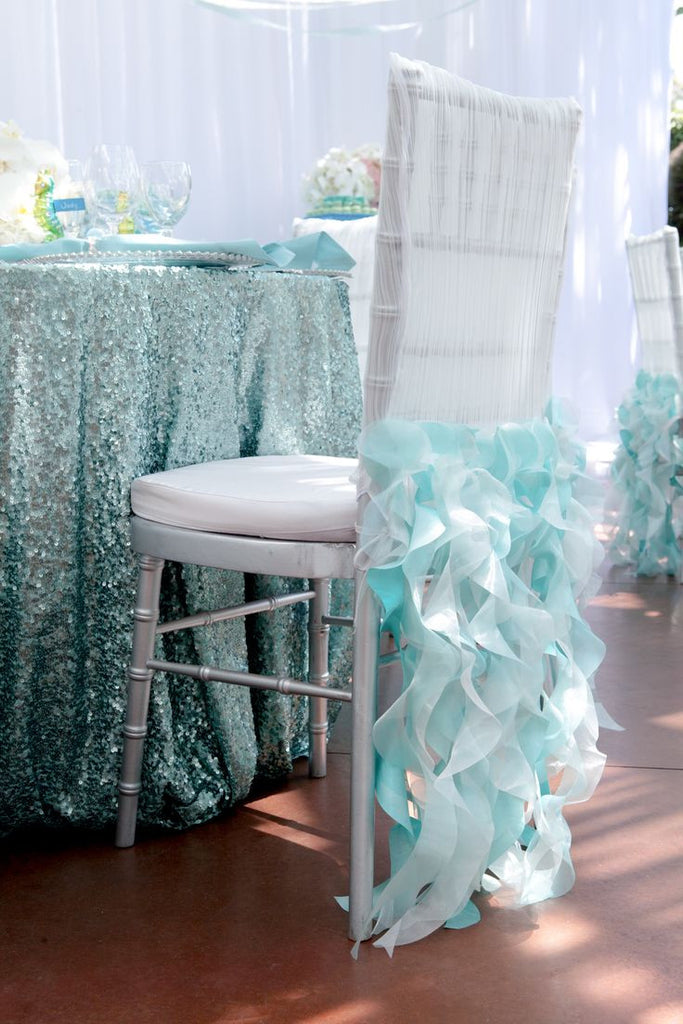 Turquoise Sequin Linens - Bella Angel Event Decor