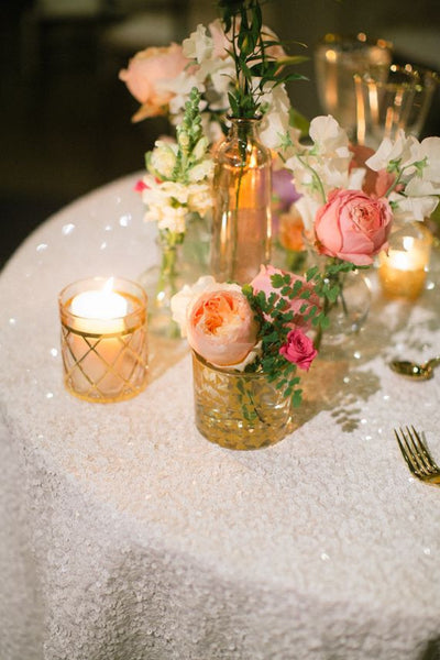 White Sequin Linens - Bella Angel Event Decor