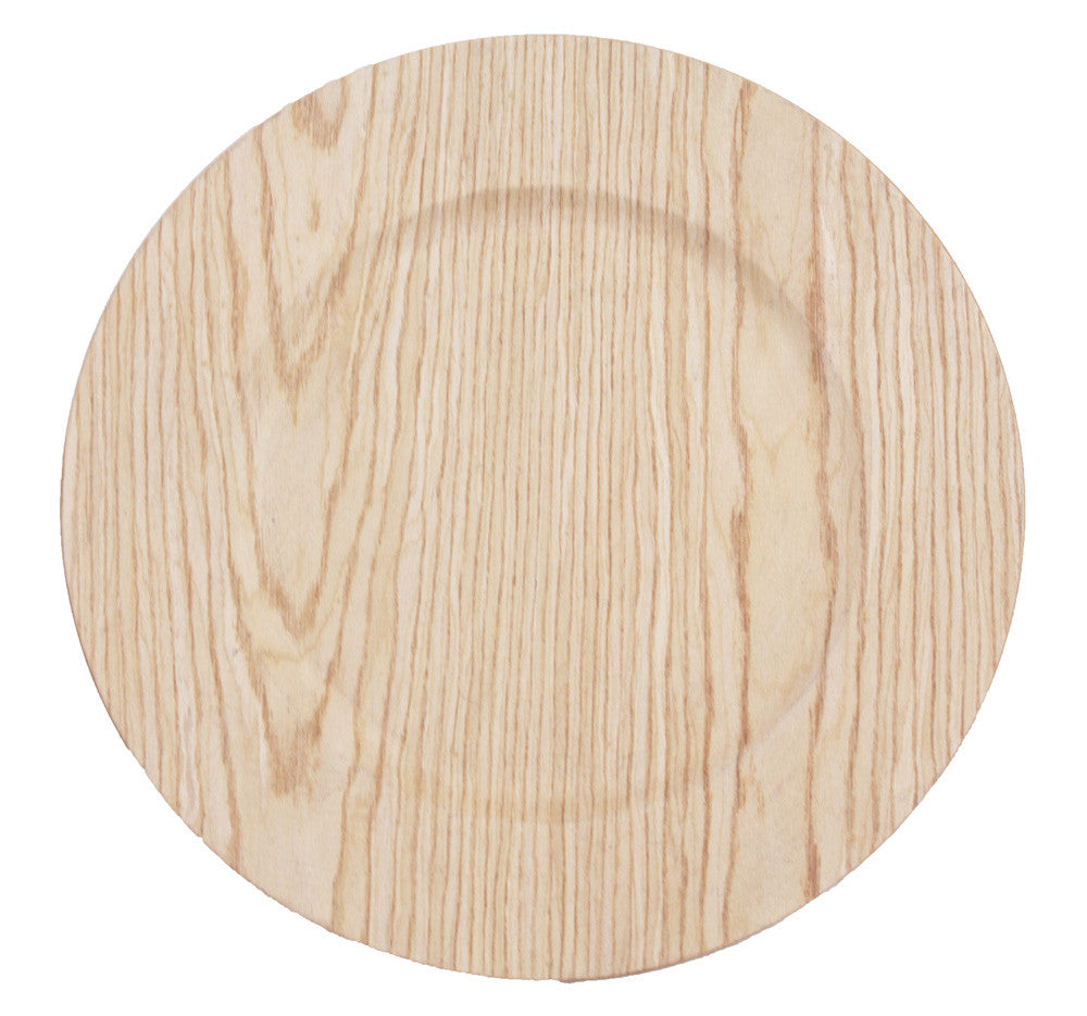"13"" Faux Wood Charger Plate - Bella Angel Event Decor"