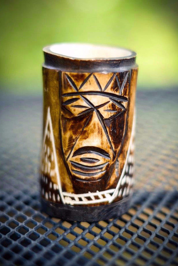 Toothpick Holder | Textured African Mask - Nyora Beads