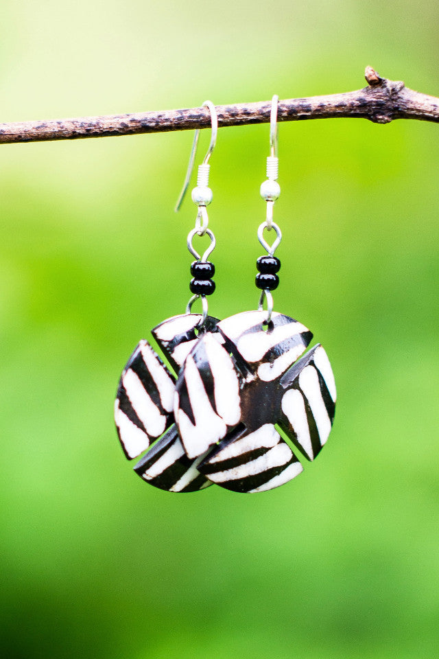 Atieno Earrings | Black & White - Nyora Beads