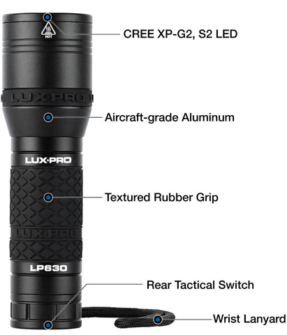 LuxPro LP 630 Focus Head Flashlight 560 Lumen