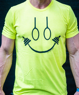Men's Neon Yellow Happy Strong T-Shirt