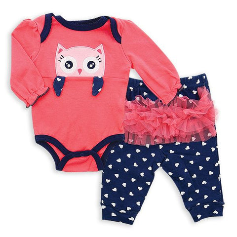 2-Piece Baby Bodysuit and Jogger Set - Peeking Owl