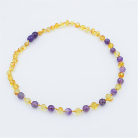 Sofia Children's Baltic Amber and Amethyst Necklace