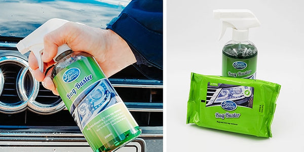Bug Buster cleaning car bonnet