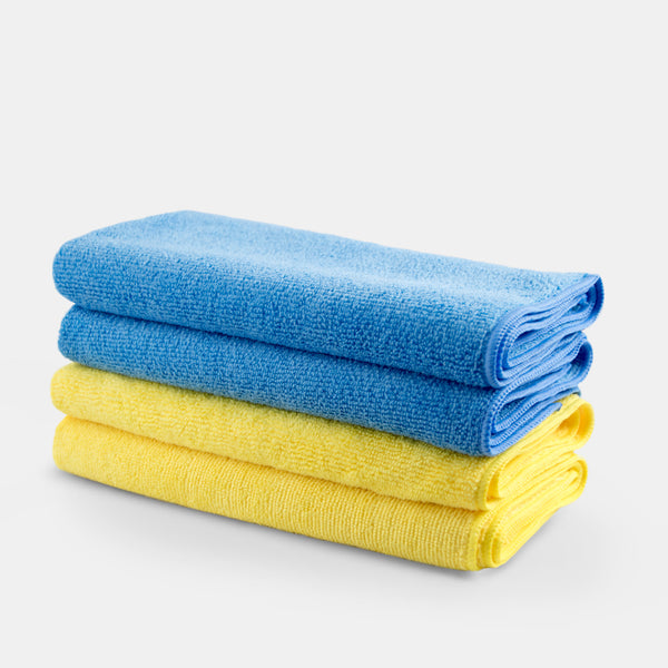 4 microfibre cloths, cleans easily, lifts and traps dirt away.