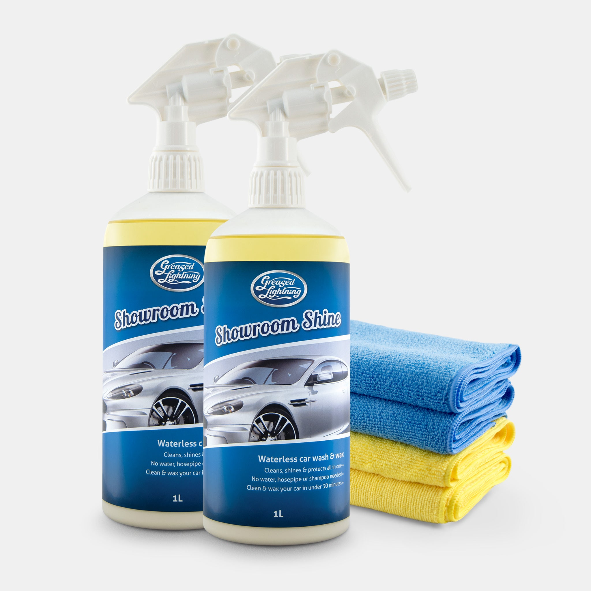 Greased Lightning Showroom Shine Waterless Wash and Wax - Twin Pack with 4 Microfibre Cloths