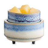 2-in-1 wax melt warmer with a reactive glaze exterior that fades from dark blue to white from the top to the base