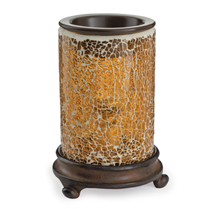 Cracked Amber wax melt warmer has a rich, dark wooden base with clawed feet that support an amber cracked glass mosaic body