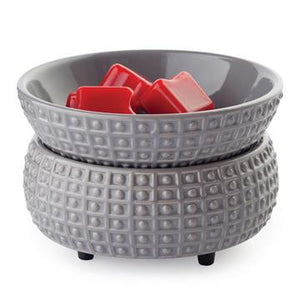 The Slate 2-in-1 wax melt warmer is made of slate grey ceramic with a hobnail and rectangle geometric design