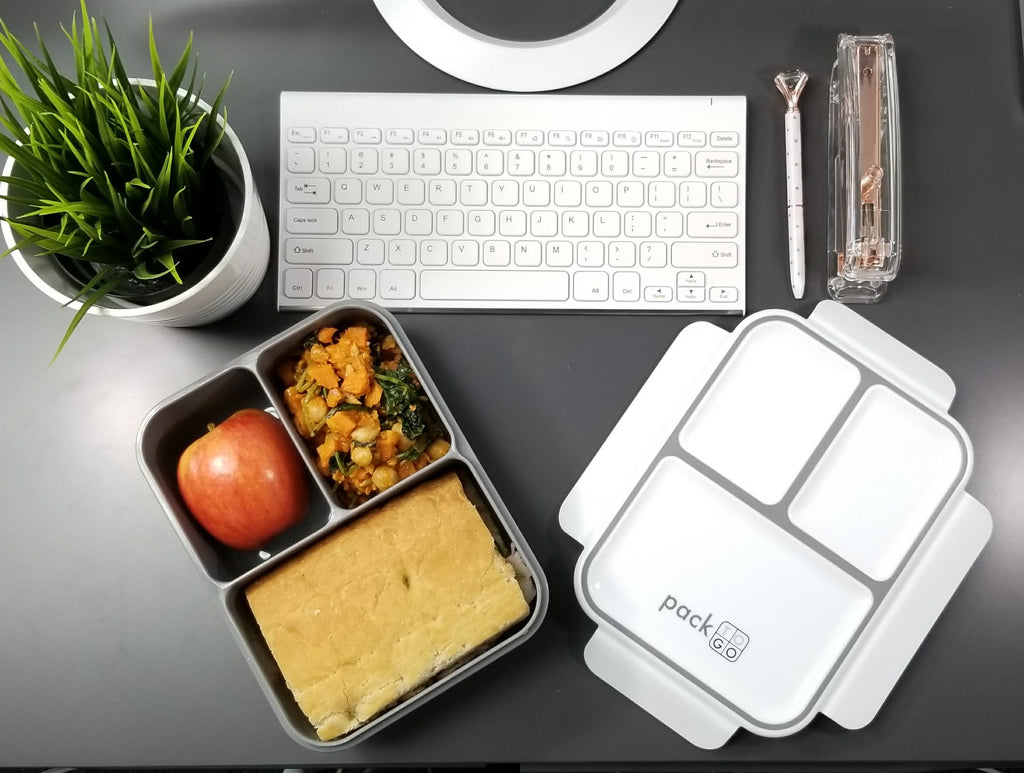 packtogo XL bento lunch box desk setup