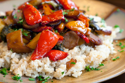 Brown rice and sautéed vegetables