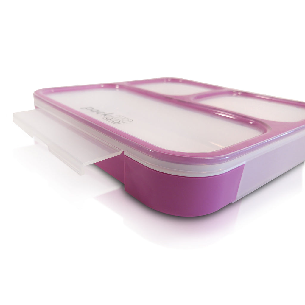 PackTOGO 100% Leakproof Purple Bento Lunch Box locking tab