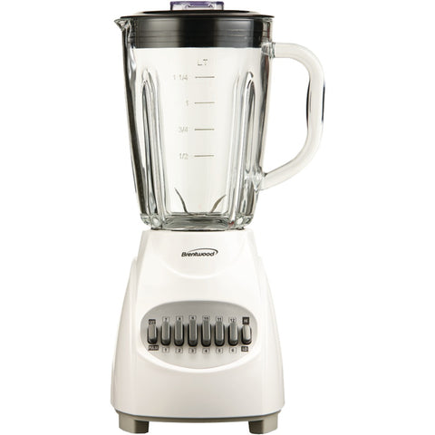 Brentwood Appliances JB-920W 42-Ounce 12-Speed + Pulse Electric Blender with Glass Jar (White)