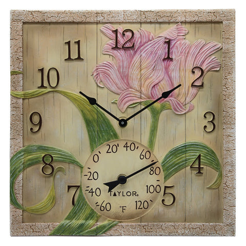 Taylor Precision Products 92691T 14-Inch x 14-Inch Beachwood Flower Clock with Thermometer