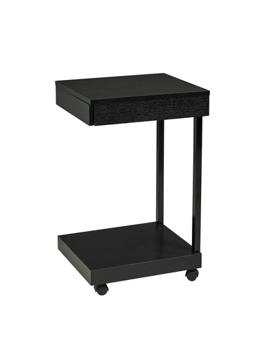 Laptop Stand with Storage Drawer & Castors: Black Laptop Stand with Storage Drawer & Castors